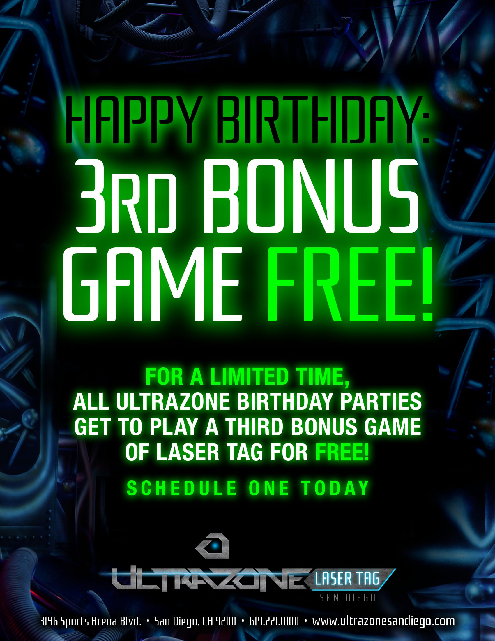 THIRD BONUS GAME FOR ALL BIRTHDAY PARTIES HOSTED THROUGH April 1 2019